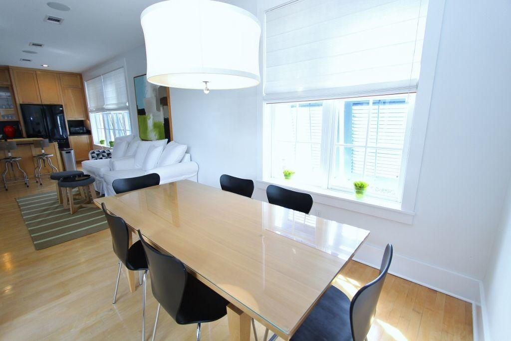Modern dining table seats six