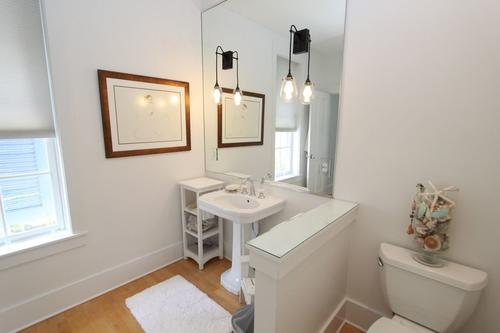 Hall bath showing sink