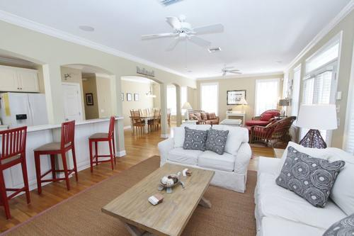 Living room showing barstools