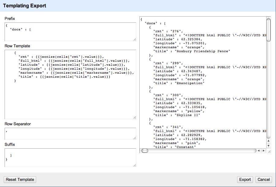 screenshot of refine export templating engine