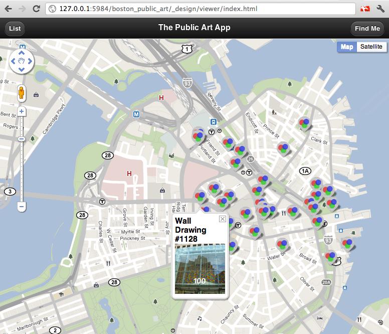 Screenshot of Public Art mobile website