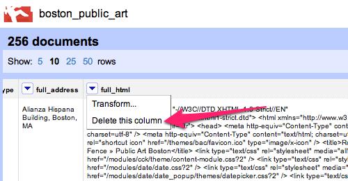 delete this column screenshot