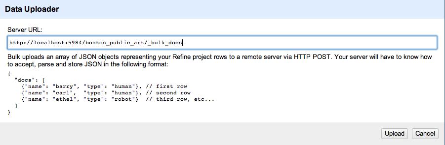 Screenshot of Refine Uploader dialog box