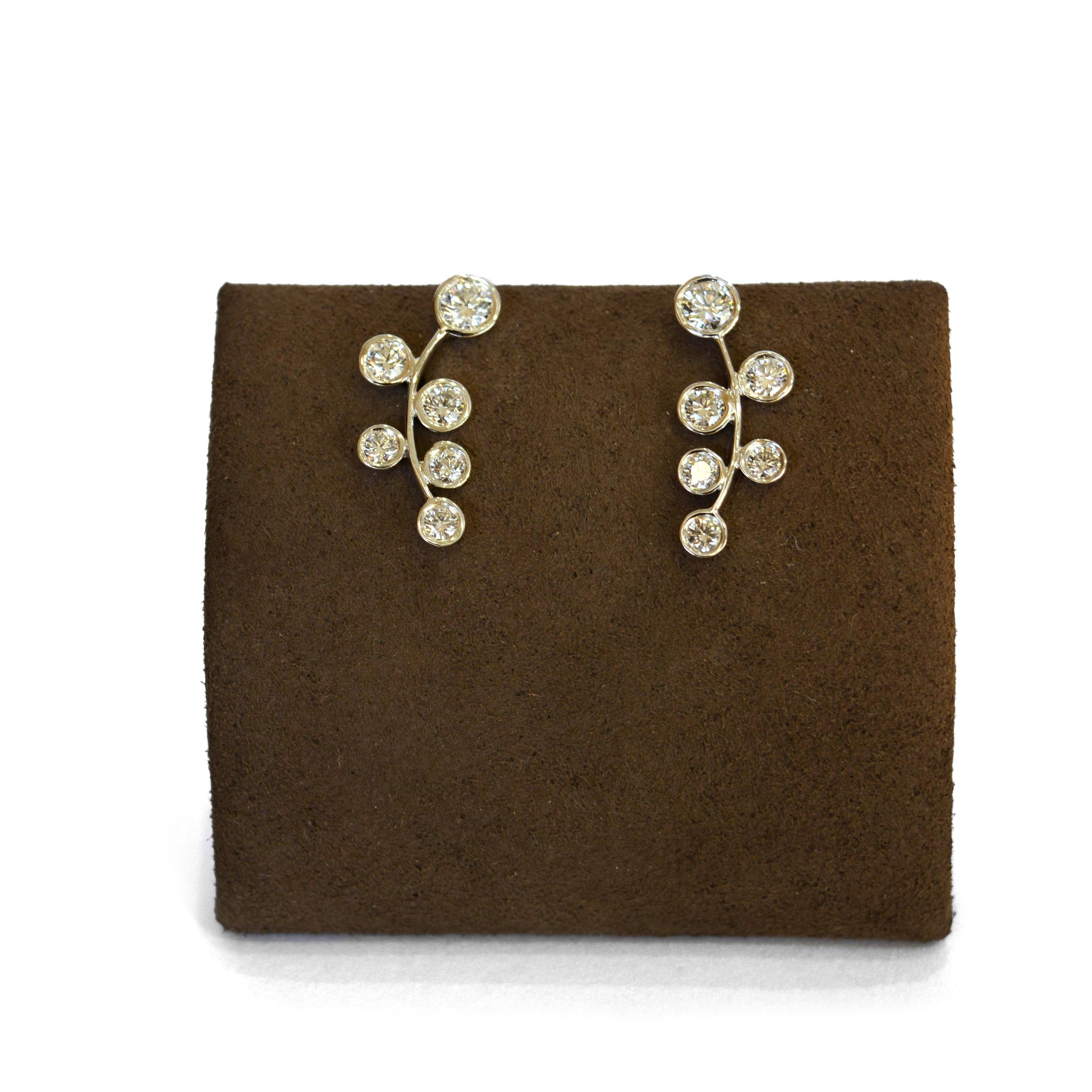 18K White Gold Diamond Branch Earrings