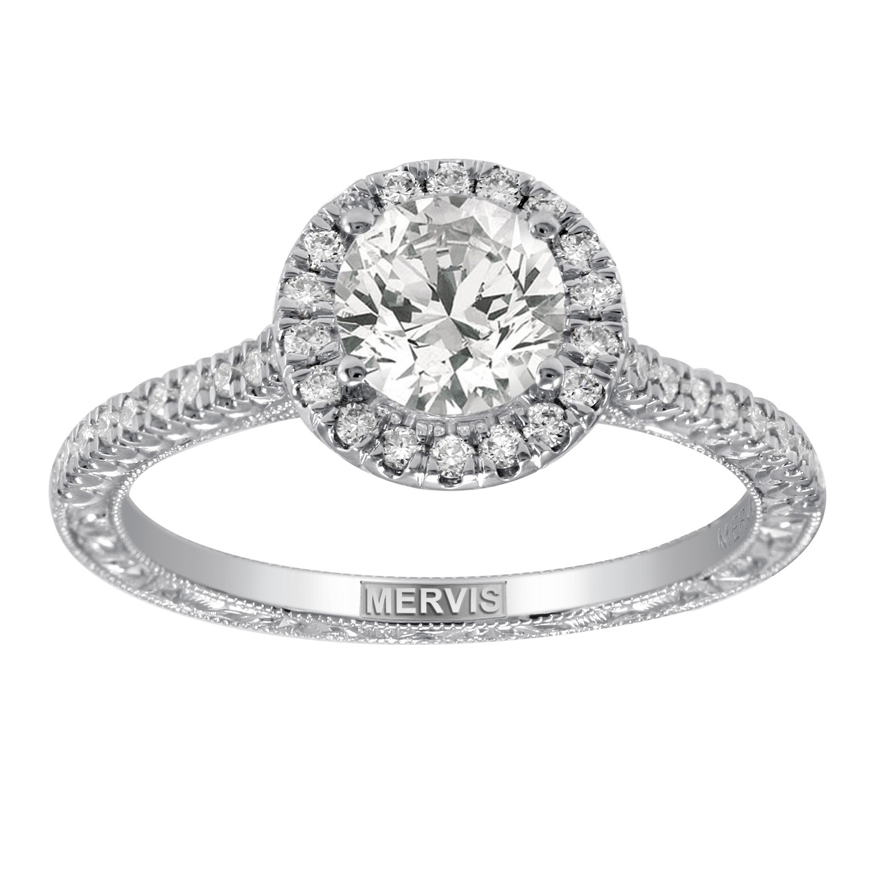 Mervis Bridal Micropave Platinum Hand Engraved Engagement Ring