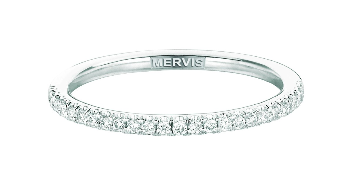 Mervis Bridal Micropave 14K White Gold Wedding Band