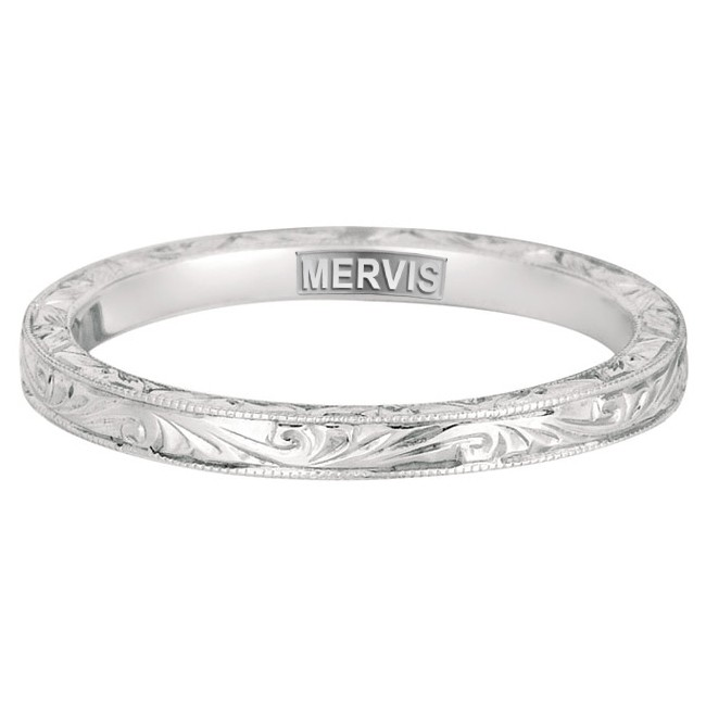 Mervis Bridal solitaire 14K White Gold Hand Engraved Wedding Band