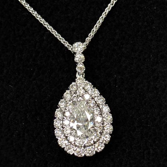 Pear shaped diamond pendant with double halo mozeypictures Images