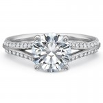 Precision Set New Aire Diamond Shared Prong Split Shank Engagement Ring