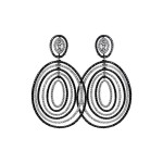 Sasha Primak Midnight Collection Oval-Shaped Black and White Diamond Earrings
