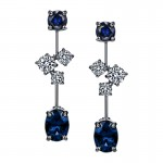 Sasha Primak Cascade Collection Sapphire and Diamond Dangling Earrings