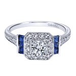14k White Gold Diamond And Sapphire Halo Engagement Ring