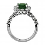 """Sasha Primak Nine-Stone Emerald """"Royal Prong"""" Cushion Halo Diamond Engagement Ring"""
