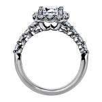 """Sasha Primak Nine-Stone """"Royal Prong"""" Cushion Halo Diamond Engagement Ring"""
