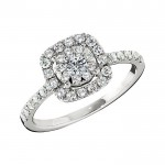 Memoire Cushion Halo Diamond Engagement Ring