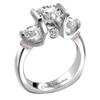 Claude Thibaudeau Platinum & 18Kt Rose Gold Engagement Ring