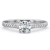 Precision Set New Aire Split Shared Prong Diamond Band Engagement Ring