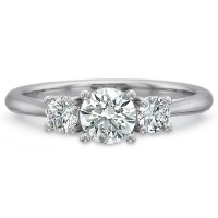 Precision Set New Aire Three Stone Round Diamond Engagment Ring