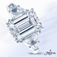 3.83 Emerald Cut in Stunning JB Star Ring