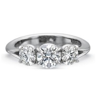 Precision Set Silk Three Stone Engagement Ring