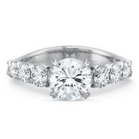 Precision Set Silk Six Round Diamond Shank Engagement Ring