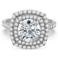 Precision Set Extraordinary Double Cushion Halo Diamond Engagement Ring