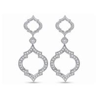 Precision Set Diamond Fashion Clover Drop Earrings