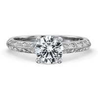 Precision Set Petite FlushFit™ Diamond Leaf Motif Band Engagement Ring