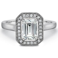 Precision Set Petite FlushFit™ Diamond Pave' Emerald Cut Halo with Plain Band with Engagement Ring