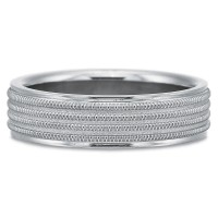 Precision Set Contemporary Four Row with Milgrain Wedding Band