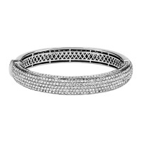 Thick Pave Diamond Bangle Bracelet