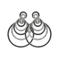 Sasha Primak Midnight Collection Detachable Black and White Diamond Circle Earrings