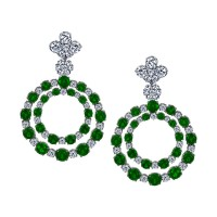 Sasha Primak Double-Circle Diamond and Emerald Chandelier Earrings