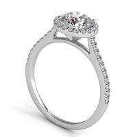 Sasha Primak Contoured Arch Cathedral Pave Round Halo Engagement Ring