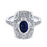 14k White Gold Diamond And Sapphire Fashion Ladies' Ring