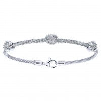 925 Silver/stainless Steel Diamond Bracelet