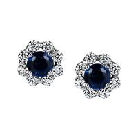 "Sasha Primak Blue Sapphire Stud Earrings with ""Royal Prong"" Diamond Halo"