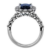 """Sasha Primak Oval Sapphire Nine-Stone """"Royal Prong"""" Cushion Halo Diamond Engagement Ring"""