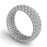 "Sasha Primak Five-Row ""Royal Prong"" Round Diamond Eternity Band"