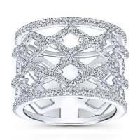 14k White Gold Art Moderne Wide Band Ladies' Ring