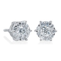 Memoire Six Prong Diamond Stud Earrings