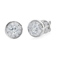 Memoire Bezel Set Diamond Stud Earrings