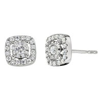 Memoire Cushion Halo Diamond Stud Earrings