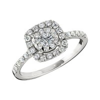 Memoire Cushion Halo Diamond Engagement Ring MCBQ5R-0090TW