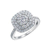 Memoire Double Halo Diamond Engagement Ring MDBQ1ER-0115TW
