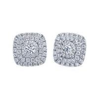 Memoire Double Halo Diamond Stud Earrings