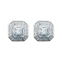 Sasha Primak Illusion Collection Stud Earrings with Pave Diamond Accent