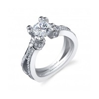 Gelin & Abaci 14K White Gold Diamond Engagement Ring TR-250