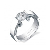Gelin & Abaci 14K White Gold Diamond Engagement Ring TR-253