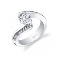 Gelin & Abaci 14K White Gold Diamond Engagement Ring TR-258
